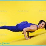 Woman arm balance yoga - Eka Pada Koundiyanasana   Stock Photo ...