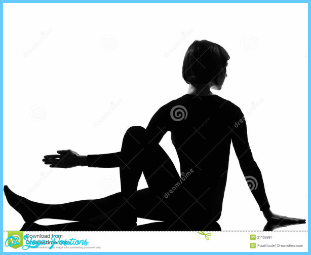 Woman Marichyasana yoga sage pose posture position in silouhette on ...