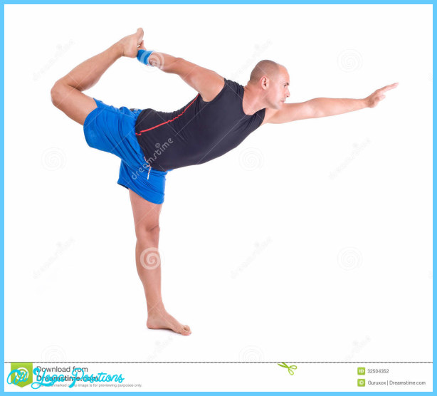 ... on white background. Pose name: Lord of the Dance Pose - Natarajasana