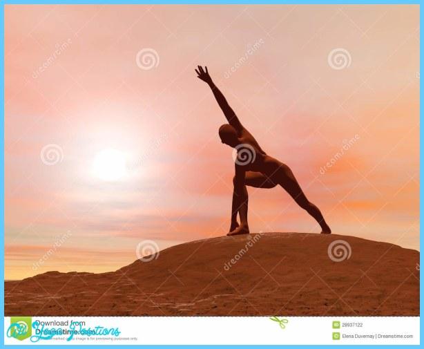 ... pose, parivrtta parsvakonasana while practicing yoga outside in front