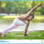 ... in Revolved Side Angle Pose, Parivrtta Parsvakonasana, full length