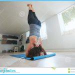 Fitness Female Practicing Salamba Sirsasana Pose Stock Photo - Image ...