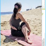 Bikram Yoga Arda Matsyendrasana Pose At Beach Royalty Free Stock ...