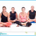 ... Yoga exercises in studio on white background. Pose name: Scale Pose