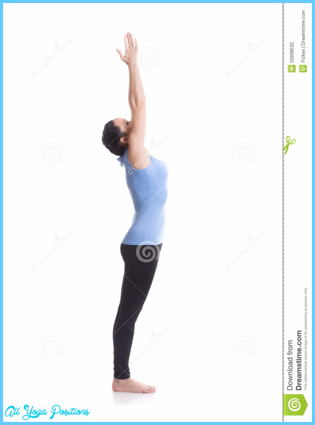 on white background performing Urdhva Hastasana, Upward Hand Yoga Pose ...