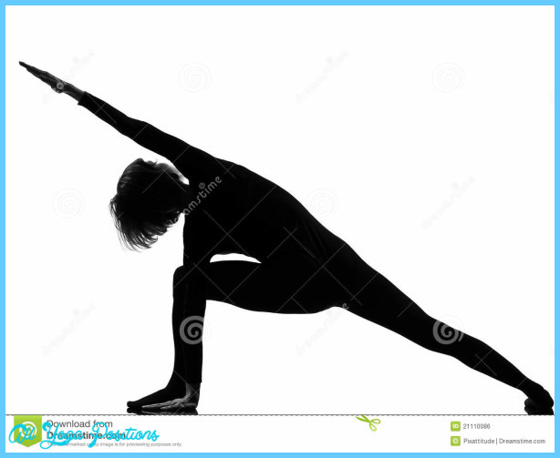 Woman yoga posture Extended Side Angle Pose position in silouhette on ...