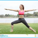 Stock Photo: Yoga virabhadrasana II warrior pose by woman on lawn,left ...