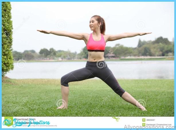 Stock Photo: Yoga virabhadrasana II warrior pose by woman on lawn,left ...