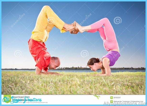 Yoga Couple, Man And Woman Doing Vrschikasana Scorpion Pose Royalty ...