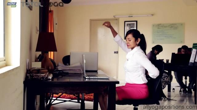 how to relieve shoulder and neck pain with desktop yoga poses 10