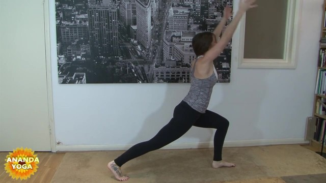 yoga for beginners sun salutation b with chair pose 35