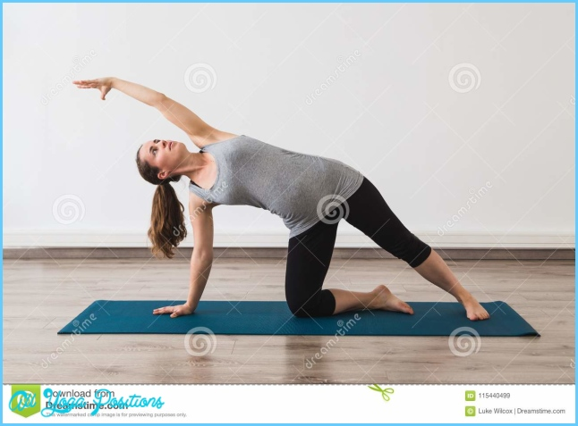 Young Woman Doing Pregnancy Yoga In Gate Pose Stock Image - Image of