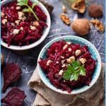 Healthy Vegan Beetroot Salad With Walnuts. Selective Focus Stock