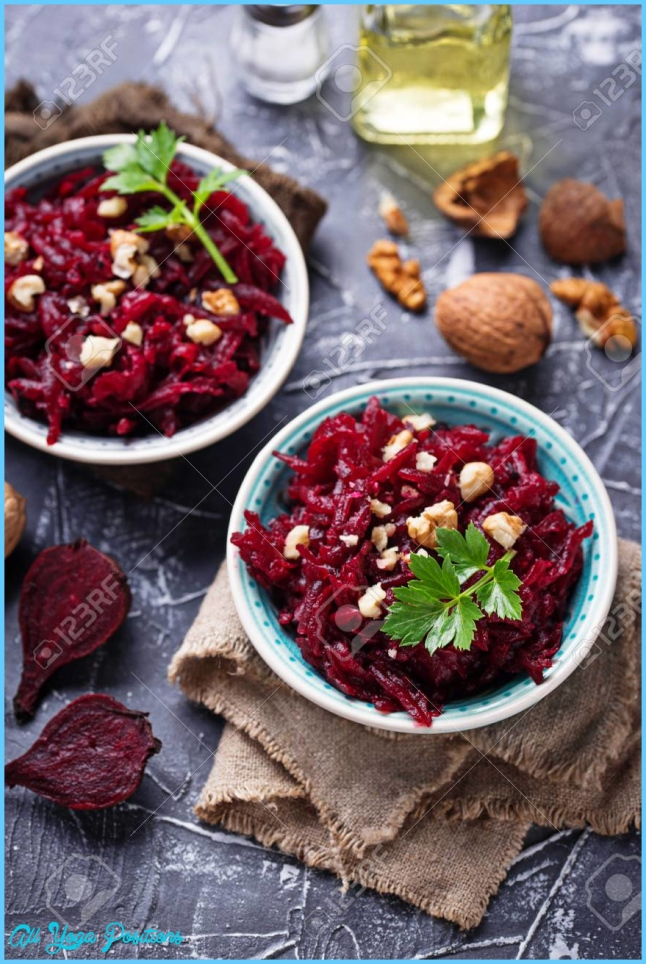 Healthy Vegan Beetroot Salad With Walnuts. Selective Focus Stock