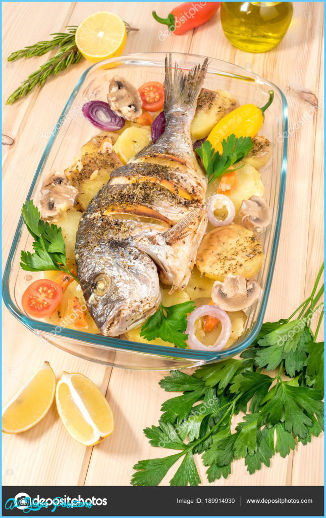 A delicious whole baked fish. Baked sea bream with lemon