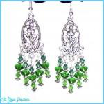Chandelier Green Crystals Long Earrings