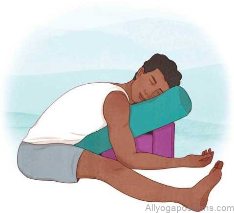 restorative yoga poses supported straddle forward fold